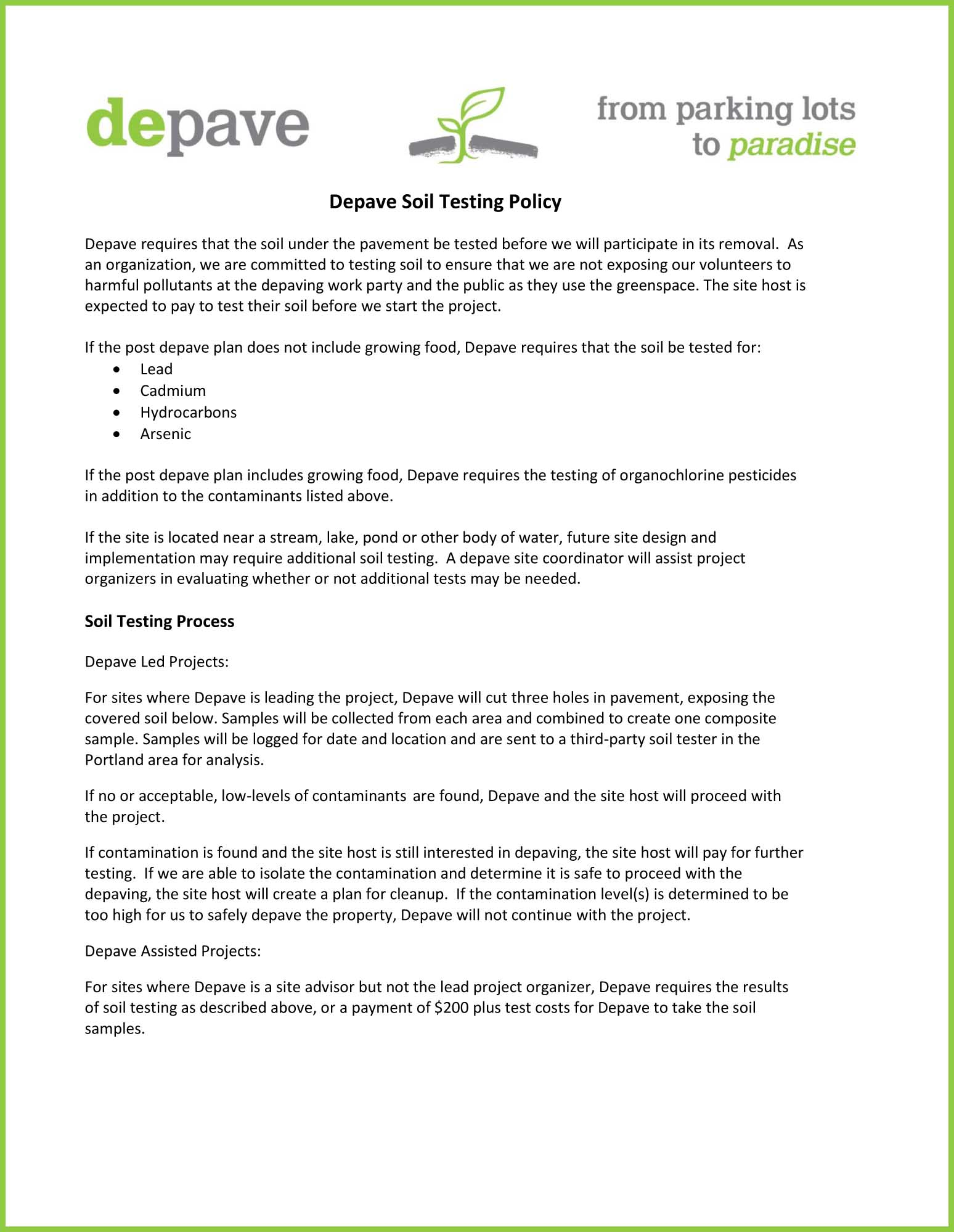 Soil Testing Policy